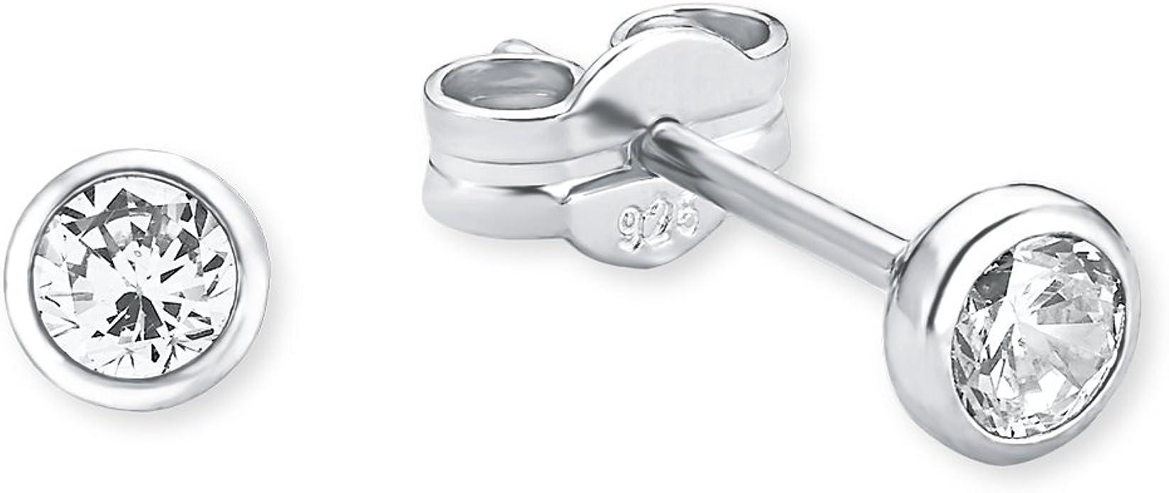 925 Sterling Silber Ohrringe Zirkonia rund crystal Hochzeit Nr 0437
