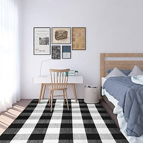 USTIDE 100 Cotton Black White Buffalo Plaid Check Area Rug Hand Woven Braided Cotton Rug Washable Area Carpet 67 x90