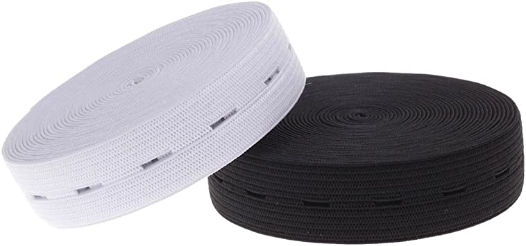 2 lot Stretchable Sewing Bands Flatback Buttonhole Belt 3//4 Inch 2 Colors