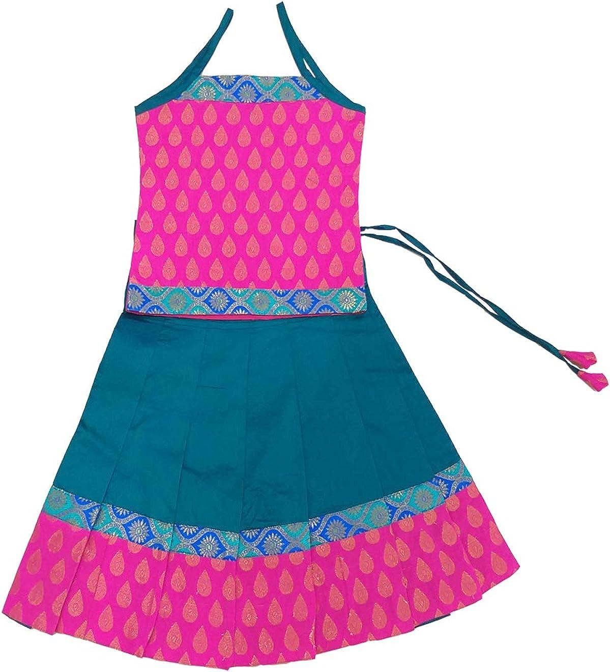 Pink and Peacock Blue Pattu Pavadai Baby Girls//Kids Brocade Fancy Langa