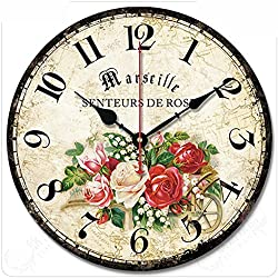 Wood Wall Clock, Vintage Colorful France Paris French Country Retro Style Arabic Numerals Design Non -Ticking Silent Quiet Wooden Clock Gift Home Decorative for Room, 12-Inches(W005)