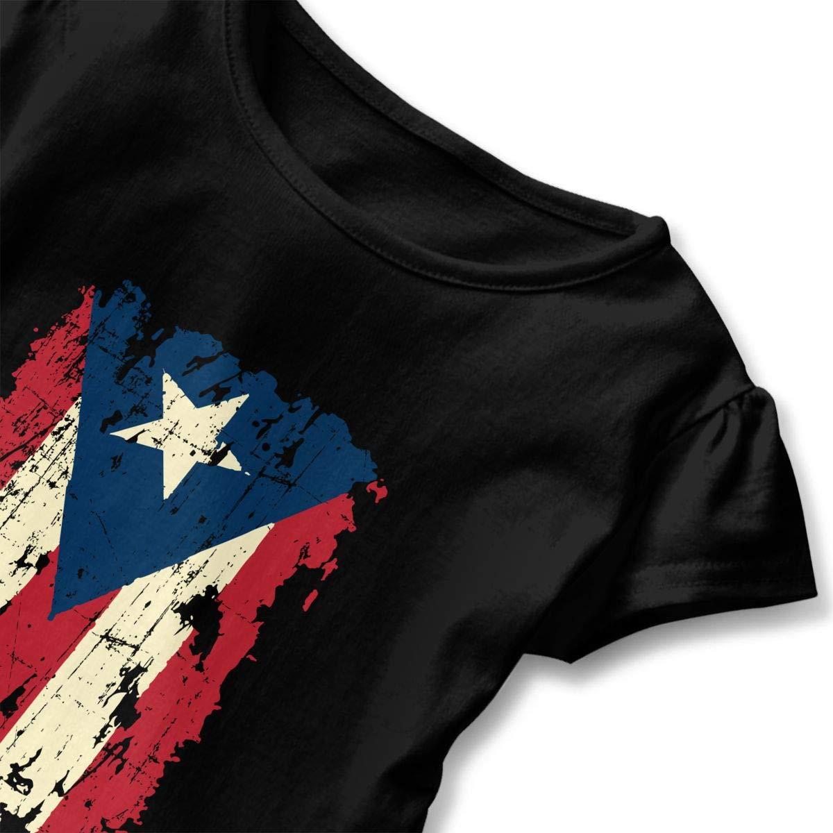 Retro Puerto Rico Flag Baby Girls Cozy Ruffle Top T-Shirt Flounces Dress Toddler Girls Blouse Top