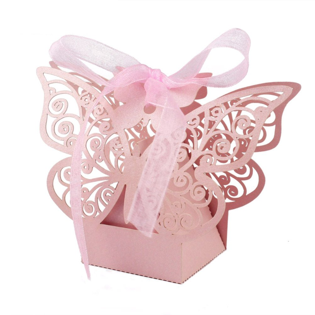 Amazon.com: EBTOYS 50pcs Laser Cut Wedding Favors Candy Boxes ...