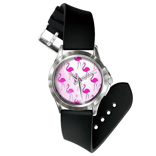 Souarts - Reloj de pulsera para mujer con esfera de flamenco blanco y grúa para hombre, 24 cm: Amazon.es: Relojes