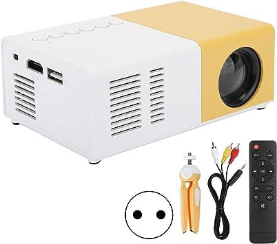 Opinión sobre Annadue Mini proyector portátil, Cine en casa LED J9, proyector de Reproductor de Medios de Video con la resolución más Alta de 1920 x1080P, Conveniente de USA (Blanco Amarillo)
