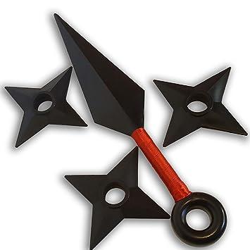 Naruto Juego 1 Kunai Grande Rojo y 3 Shuriken Arma y Estrella Ninja: Amazon.es: Juguetes y juegos