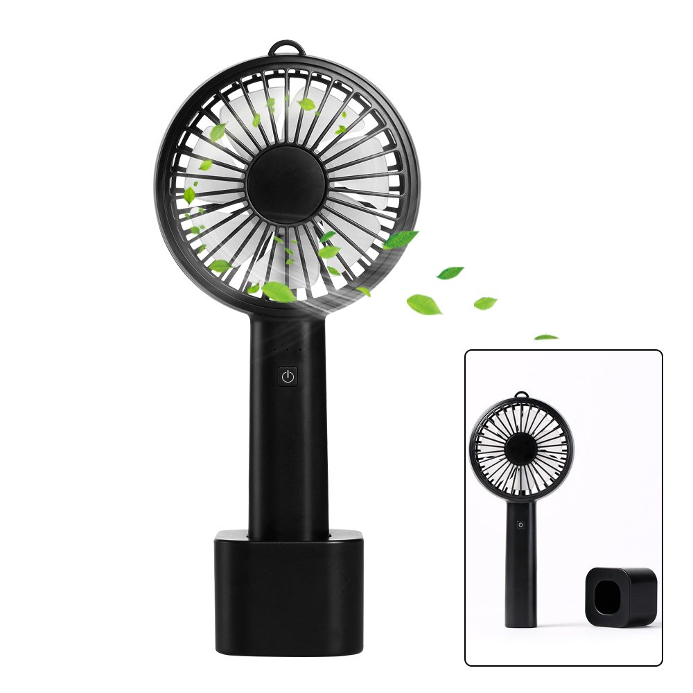 esonstyle Handheld Portable Pocket Mini fan Electric Fan with Rechargeable 2600mAh Battery 8 Hours Working Time Adjustable 3 Speeds for for Office Room Outdoor Household Traveling (black)