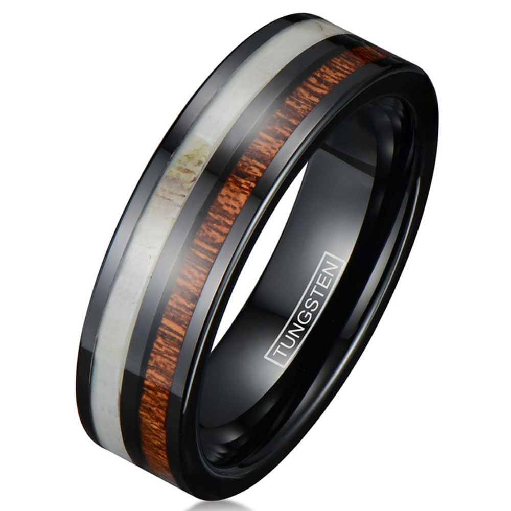 King's Cross Personalized Engraved 6mm/8mm Black Tungsten Wedding Band w/Deer Antler & Koa Wood Inlays. (tungsten (6mm), 7)