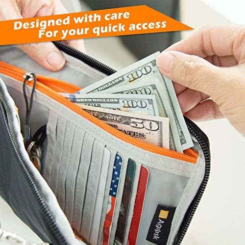 Travel Wallet & Passports Holder with RFID Blocking by AGILISK Offer Family Organizer for Credit & Business Cards, Document, Boarding Pass, and Accessories For Neck/Shoulder. Get Yours Now! (Black)