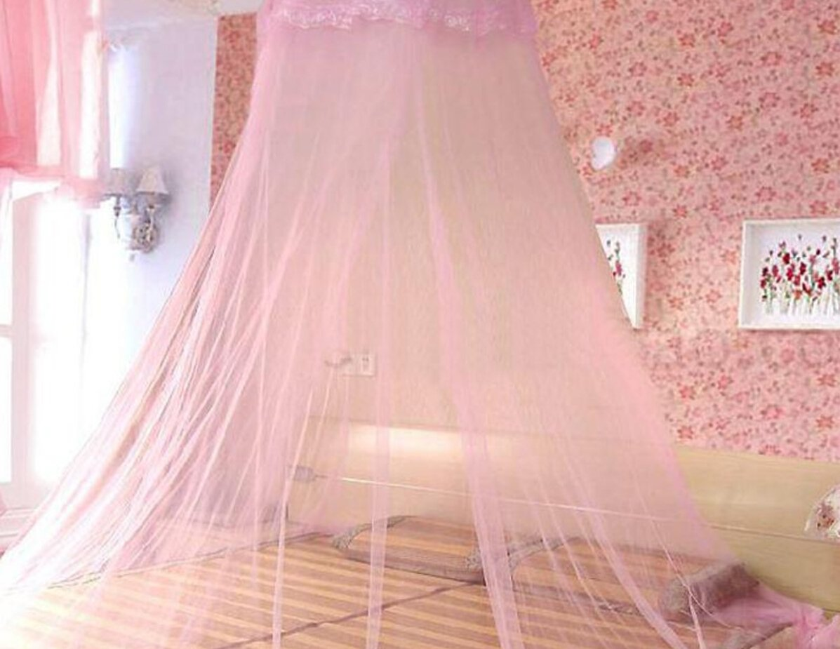 Bed Canopy Mosquito Fly Bug Insect Net Netting Screen Mesh Single Double Bed (pink) SnowyAir