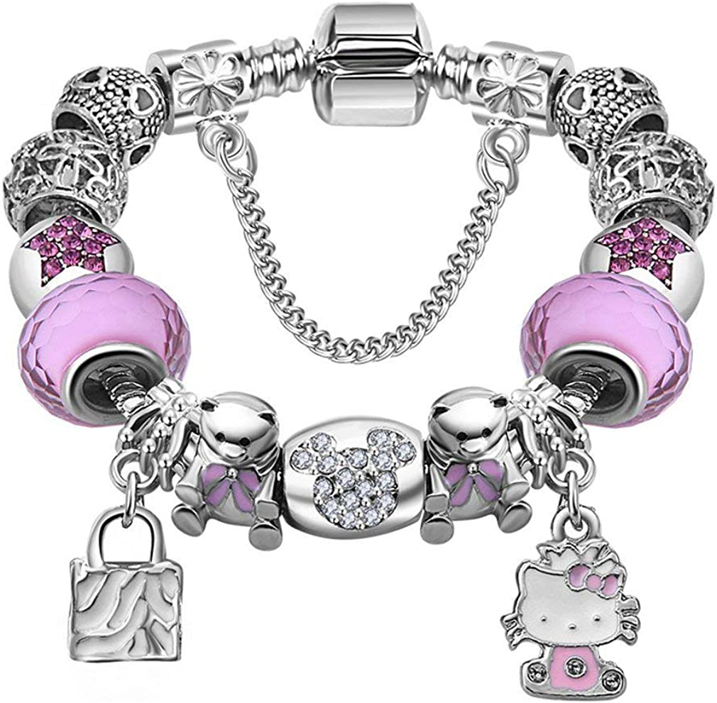 Amazon Com Miadeal Hello Kitty Charms Bracelet Fits Pandora Kids Girls Bracelet Clothing