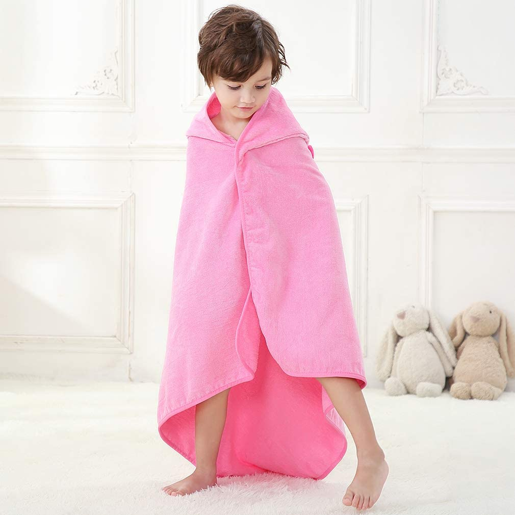 MICHLEY Baby Hooded Bath Towel Unisex Cotton Shower Beach Blanket Suitable for Children Aged 1-6,Gray