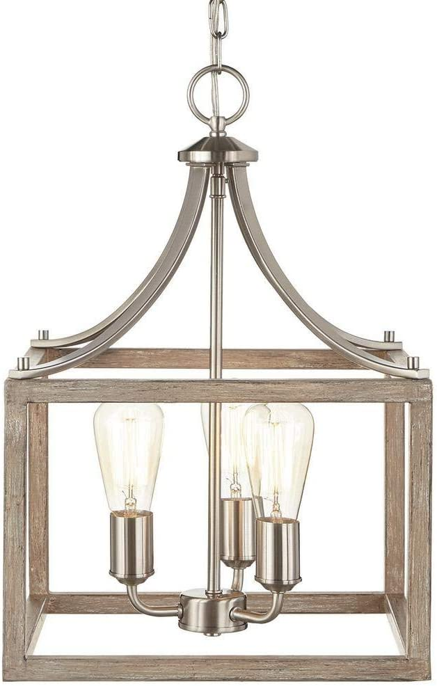 RuiXia Home Decorators Collection Boswell Quarter 14 in. 3-Light Brushed Nickel Chandelier with Painted Weathered Gray Wood Accents