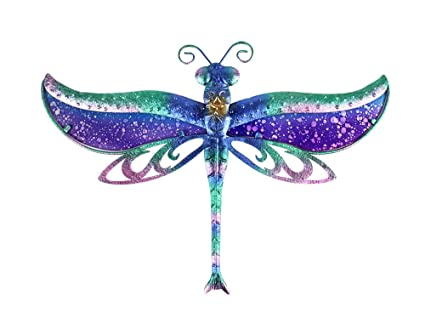 Liffy Dragonfly Decor Outdoor Metal Wall Hanging Art Colorful For Living Room Bedroom 17 Long