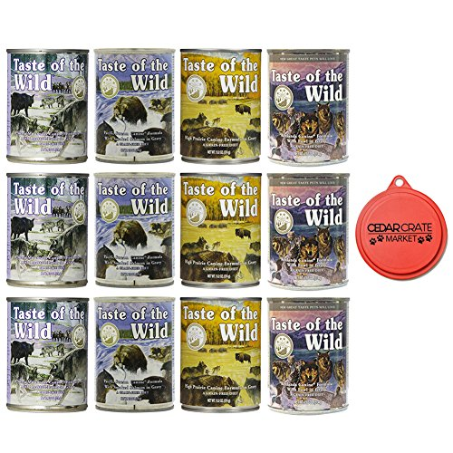 Taste of the Wild Grain-Free Canned Dog Food Variety Pack - Wetlands, Pacific Stream, High Prairie, and Sierra Mountain Pack of 12, 13.2 ounce cans by with Can Topper (Taste Of The Wild Canned Dog Food Reviews)