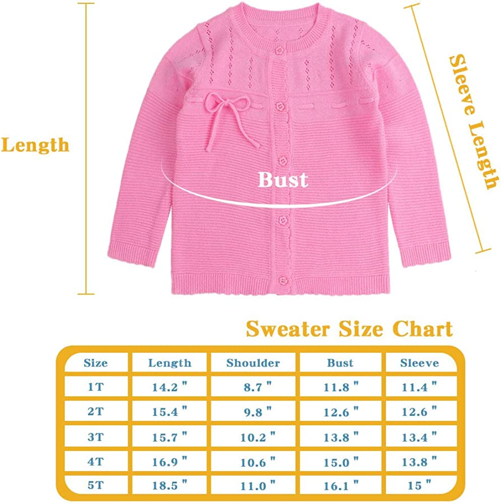 Baby Girl Sweater Kids Bowknot Tie Pullover Coat Solid Color Cardigan Cotton Blend Toddler Child Outfit