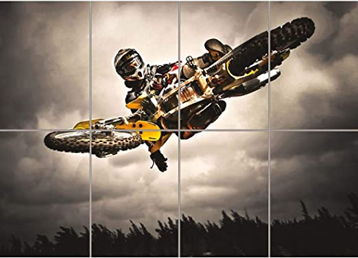 Motocross Bike Stunt Large Wall Art Print