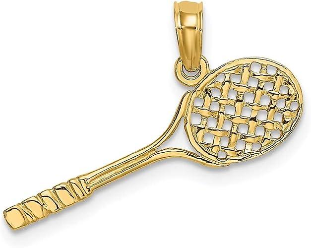 14K Yellow Gold Tennis Racket Charm Pendant
