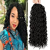Befunny 6Packs/Lot 16inch Curly Faux Locs Crochet Hair Soft Deep Wavy Goddess Crochet Locs Hair Braids Synthetic Braiding Hair Extensions 24 Roots/pack (16', 1B#)
