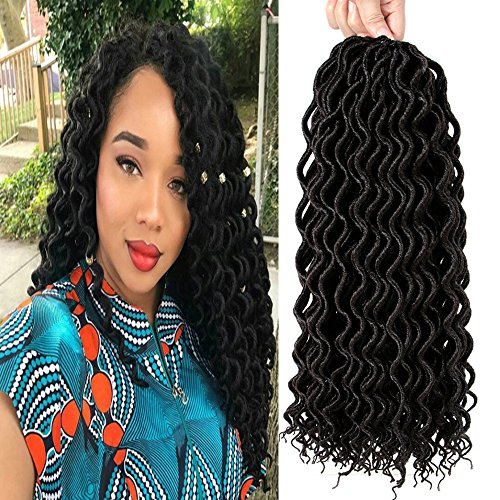 Befunny 6Packs/Lot 16inch Curly Faux Locs Crochet Hair Soft Deep Wavy Goddess Crochet Locs Hair Braids Synthetic Braiding Hair Extensions 24 Roots/pack (16