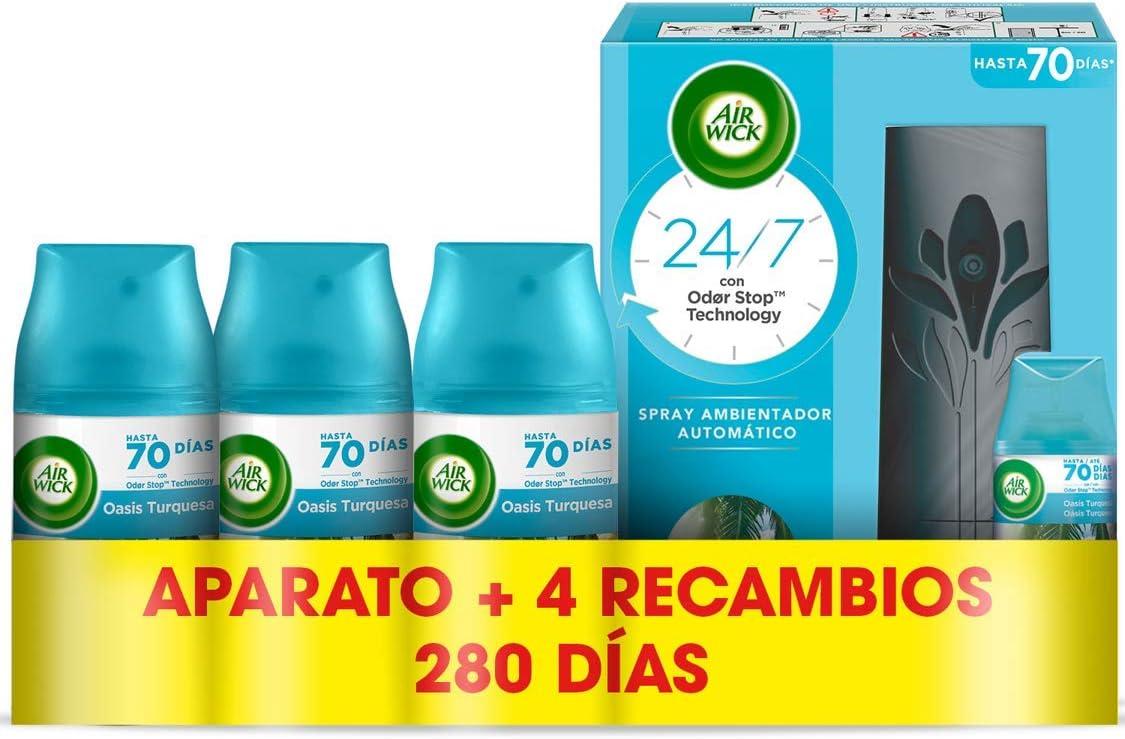 Air Wick Freshmatic - Aparato y Recambios de ambientador spray automático, esencia para casa con aroma a Oasis Turquesa - 1 aparato y 4 recambios