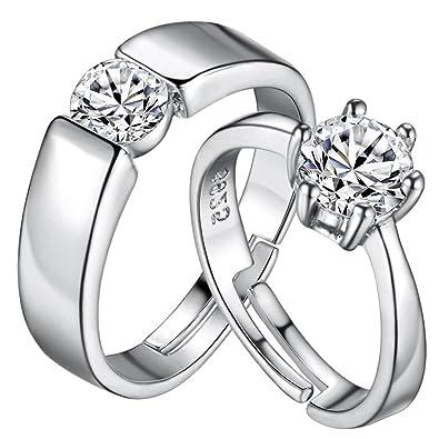 HMILYDYK - Set de anillos con solitario, chapados en platino con circonitas cúbicas, anillos