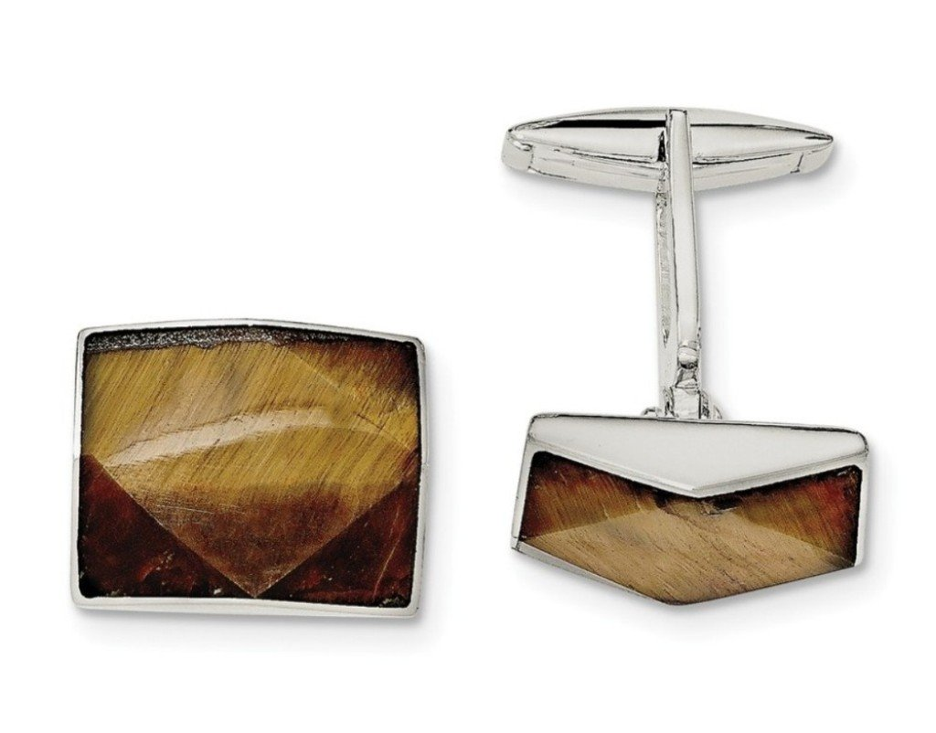 Sterling Silver Tigers Eye Square Cuff Links