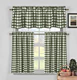 Cheap Home Maison Kingston Plaid Gingham Checkered Cotton Blend Kitchen 3 Piece Window Curtain Tier & Valance Set, 2 29 x 36 & One 58 x 15, Sage Green