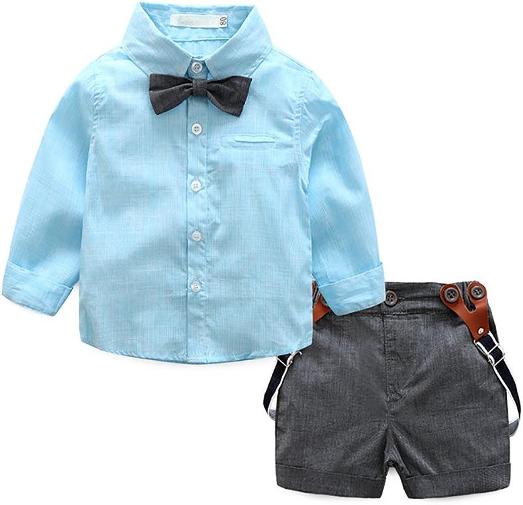 MissChild Bebé Niño Camisa de Manga Larga + Pantalones Cortos de Tirantes Conjunto de Caballeros de Verano con Caballero Bowtie Azul Label 70: Amazon.es: Ropa y accesorios