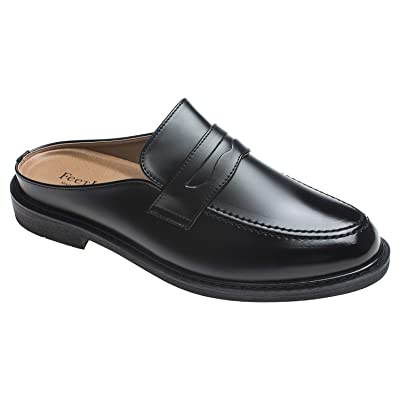 Amazon.com | AGOS Mens Penny Strap Mules Open Back Loafer Slip-On Dress Slippers | Mules & Clogs