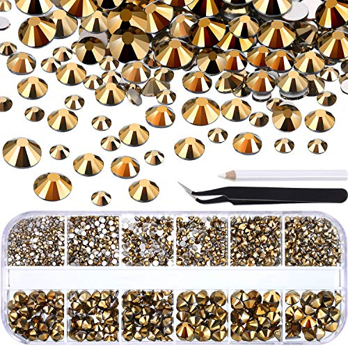 TecUnite 2000 Pieces Flat Back Gems Round Crystal Rhinestones 6 Sizes (1.5-6 mm) with Pick Up Tweezer and Rhinestones Picking Pen for Crafts Nail Face Art Clothes Shoes Bags DIY (Metallic Gold)