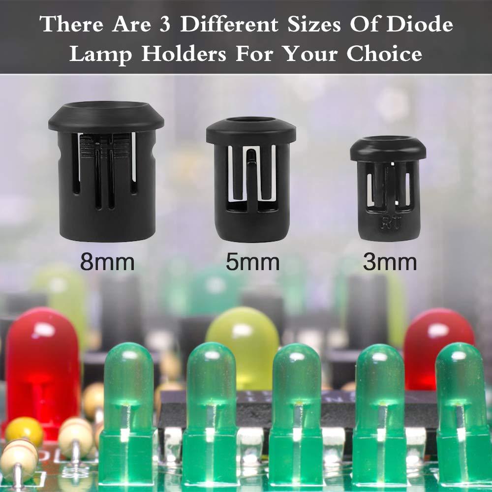 Support de Diode LED 90 pi/èces support de Diode 3//5 8mm support de Diode support de LED prise de Diode /électroluminescente en plastique