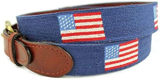 Smathers /& Branson Mens Classic Navy American Flag Needlepoint Belt 34 New