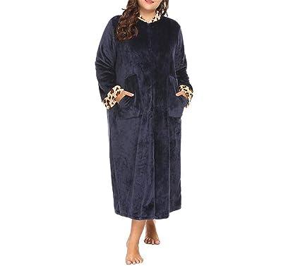 Mujer Tallas Grandes XL-5XL Mujer Ropa de Dormir Batas Suave y cálido Salón Vestido de Felpa Lencería Albornoz Batas Grandes Tamaño: Amazon.es: Ropa y ...