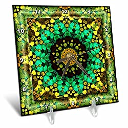 3dRose dc_42579_1 Mandala 29 Floral Flowers Green Turquoise Gold Glowing Peace Meditation Desk Clock, 6 by 6-Inch