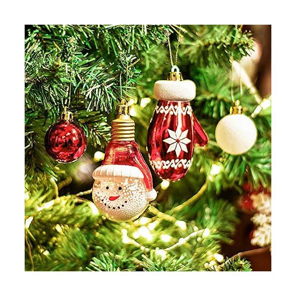 Victor's Workshop Addobbi Natalizi 100 Pezzi di Palline di Natale, Oh Cervo Rosso e Bianco Infrangibile Palla di Natale Ornamenti Decorazione per la Decorazione Dell'Albero di Natale 4 spesavip