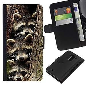 KingStore / Leather Etui en cuir / LG G3 / Drôle de famille Pet Bandit