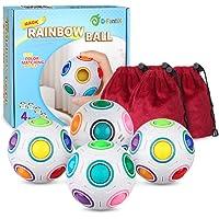 D-FantiX Rainbow Puzzle Ball 4 Pack, 3D Rainbow Magic Ball Cube Fidget Ball Puzzle Brain Teaser Fidget Toys for Adult Kids White