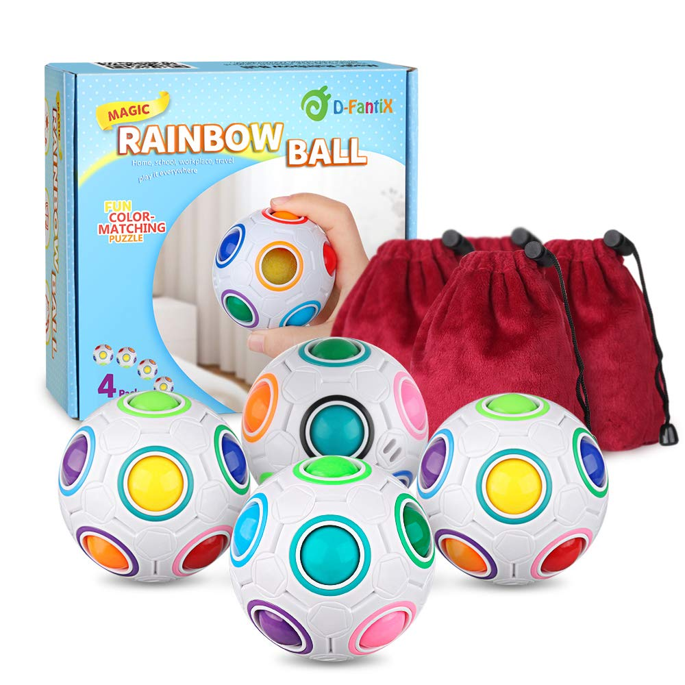 D-FantiX Rainbow Puzzle Ball 4 Pack, Magic Rainbow Ball Puzzle Cube Fidget Balls Puzzle Brain Games Fidget Toys for Adult Kids White by D-FantiX