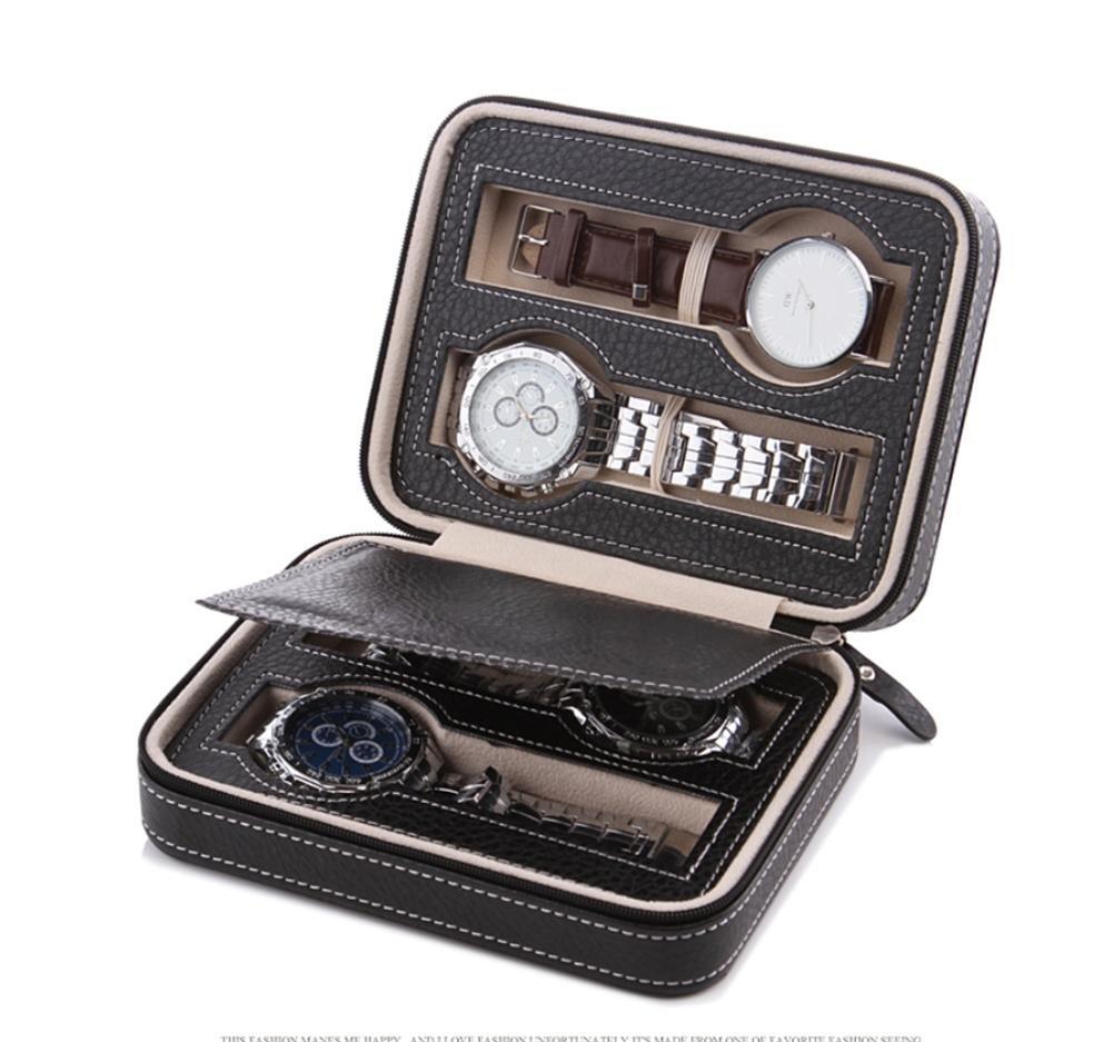 AMYMGLL PU cuir fermeture à glissière montre bijoux sac de rangement portable voyage montre stockage nom de la boîte sac de montre (2/4/8 bits boîte de stockage de montre) Noir et brun , B , black