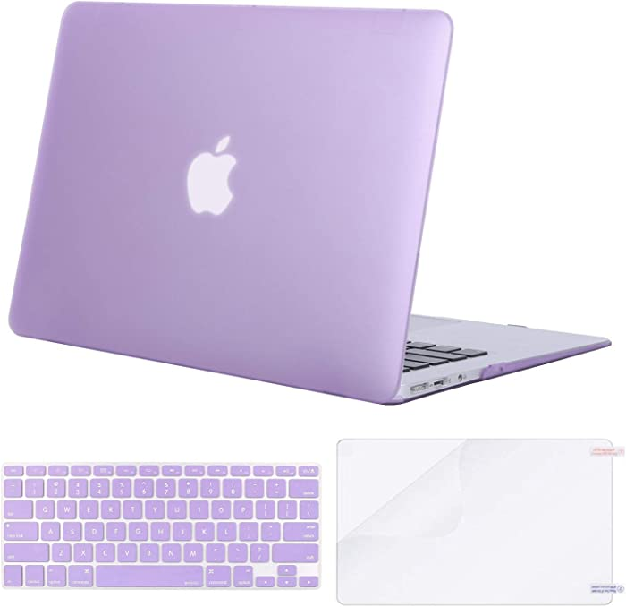 MOSISO Plastic Hard Shell Case & Keyboard Cover & Screen Protector Only Compatible with MacBook Air 13 inch (Models: A1369 & A1466, Older Version 2010-2017 Release), Light Purple