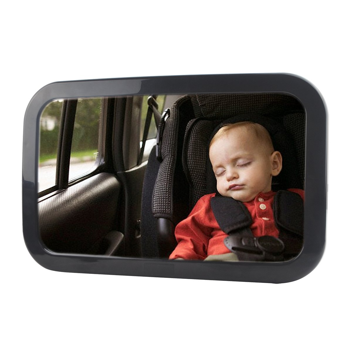 Destric Backseat Mirror For Baby, Universal Adjustable 360 Infant Rear View Car Seat Mirror by Wide Convex Necessary Safety Accessories Shatterproof Matte and Secure Double-Strap (11.87.40.9)