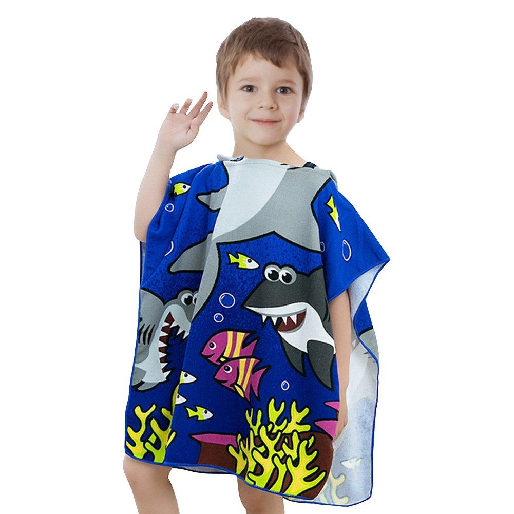 Kids Bath Beach Pool Hooded Towel-Soo Angeles Toddlers Microfiber Ultra Soft for 1 to 6 Years Old Boys/Girls-Shark