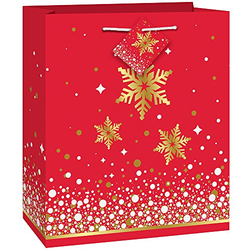 - Unique Industries 58019 Gold Sparkle Christmas Gift Bag Red