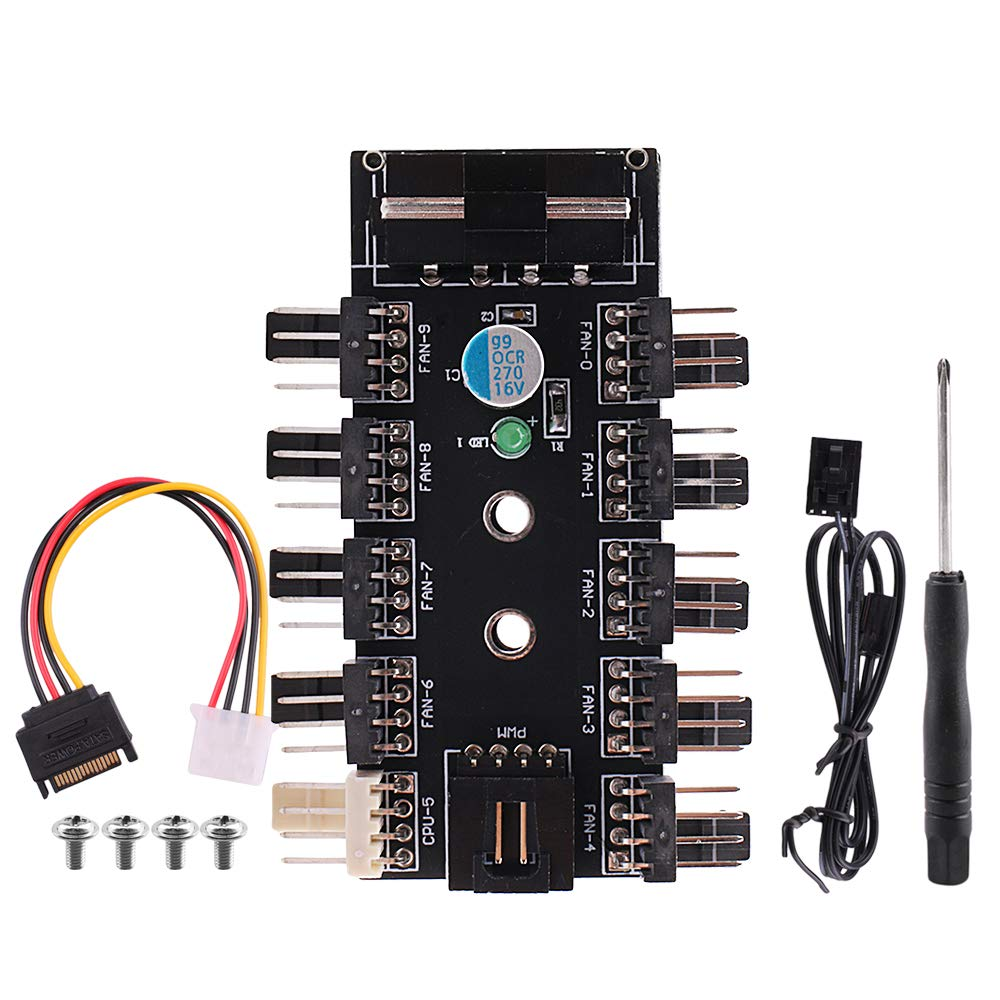 MagiDeal Computer RGB Hub Cooler Fan Speed Controller 4Pin 12V 10 Channel