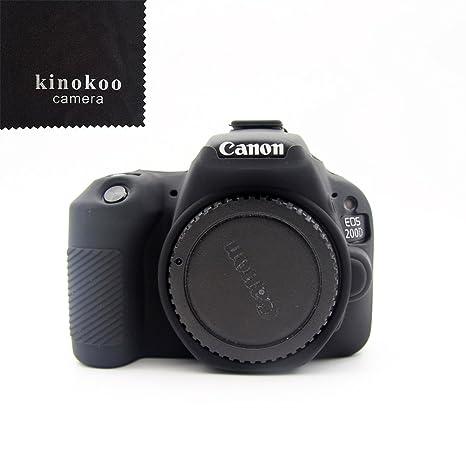 kinokoo Funda de Silicona para Funda Protectora Canon EOS 200D / Rebel SL2 (Negro)