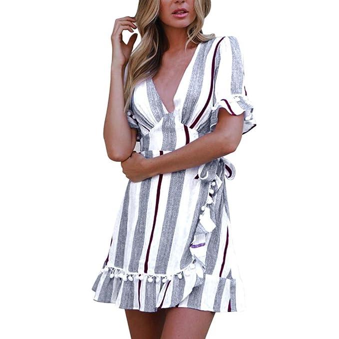 2b400d19bc0123 Damen kleid Rosennie Frauen sommer mode Elegant Reine Farbe Striped Tiefem  V-Ausschnitt Printed Hohe