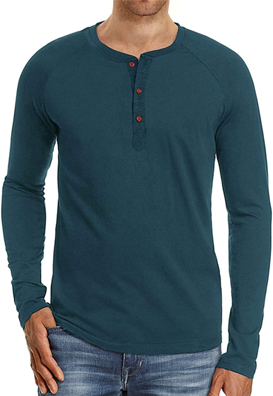 Cyiozlir Mens Long-Sleeved Shirt Button Down T Shirt Mens Long-Sleeved with Grandad Neck Cotton Breathable Long Sleeve Henley Shirt