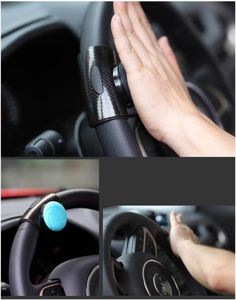 Car Styling Poign/éE Contr/ôLe Spinner Direction V/éHicule Voiture Universelle Bille Boule Double Couche Aspect Carbone Pwtchenty 360 /° Bouton De Volant Booster Auto
