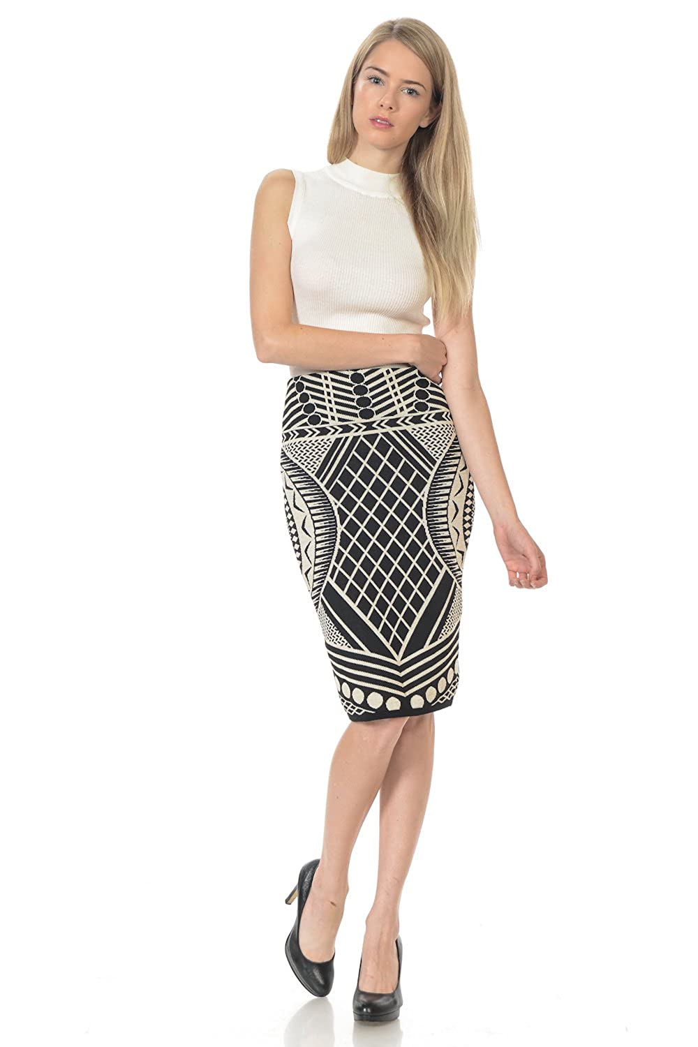 5828892037 Elastic Waist Band Sweater Stretchy Jacquard Pencil Skirt For Office Wear  (Small, Black/Taupe) at Amazon Women's Clothing store: